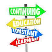 Continuing Education Constant Learning Street Signs — Stock Photo