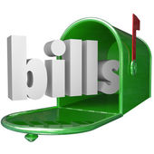 Bills Word in Mailbox Paying Down Debt Credit Card Payment — Stock Photo