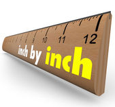 Inch by Inch Incremental Growth Increasing Ruler Measure — Stock Photo