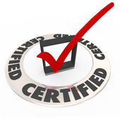 Certified Ring Word Check Mark Box Approved License Symbol — Stock Photo