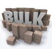 Buy in Bulk Word Many Boxes Product Volume Quantity — Stock Photo