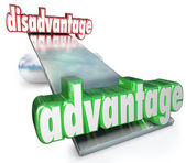 Competitive Advantage Vs Disadvantage See-Saw Balance Scale — Stock Photo