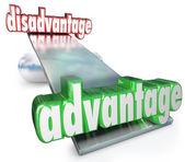 Competitive Advantage Vs Disadvantage See-Saw Balance Scale — Stock Photo
