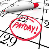 Payday Word Circled Calendar Income Wages Date — Stock Photo