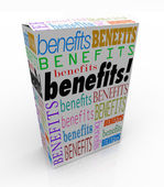 Benefits Word Product Box Marketing Unique Qualities — Stock Photo