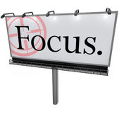 Focus Word Billboard Aiming Goal Concentrate Mission — Stock Photo