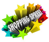 Shopping Spree Words Stars Winner Sweepstakes Prize — Stock Photo