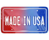 Made in the USA License Vanity Plate Car — 图库照片