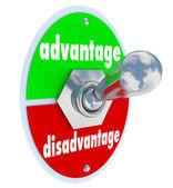 Competitive Advantage Vs Disadvantage Toggle Switch Choice — Stock Photo