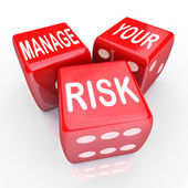 Manage Your Risk Words Dice Reduce Costs Liabilities — Stock Photo