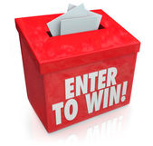 Enter to Win Red Raffle Lottery Box Entry Forms Tickets — Zdjęcie stockowe