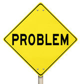 Problem Yellow Warning Sign Caution Trouble Issue — Stock Photo