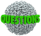 Questions Word Question Mark Ball Asking for Answers — Stock Photo