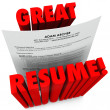 Stock Photo: Great Resume 3D Red Words Successful Application