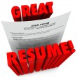 Great Resume 3D Red Words Successful Application — Stock Photo