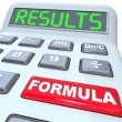 Formula and Results Words on Calculator Budget Math — Foto Stock
