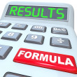 Formula and Results Words on Calculator Budget Math — Zdjęcie stockowe