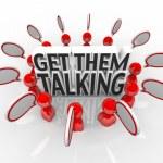 Get Them Talking People Speech Bubbles Sharing Ideas — Stock Photo