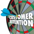 Stock Photo: Customer Retention Dartboard Perfect Dart Hit