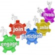 Participate People Climbing Gears Join Engage Involve — Stock Photo