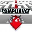 Compliance Arrow Breaks Through Maze Breaking Rules — Stock Photo