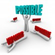 Possible Vs Impossible Man Lifts Word Winner Success — Stock Photo #28656835
