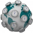 Stock Photo: International Time Zones Clocks Around World Global Travel