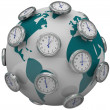 Foto de Stock  : International Time Zones Clocks Around World Global Travel