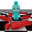 Stock Photo: Play to Win Person Last One Standing Winner Game