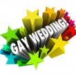 Stock Photo: Gay Wedding Starburst Announcement Homosexual Marriage