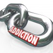 Addiction Chain Links Word Addict Trapped in Disease — Stok fotoğraf
