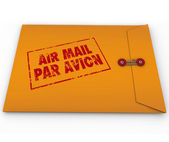 Yellow Envelope Airmail Stamp Par Avion Express Delivery — Stock Photo