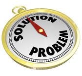 Problem Vs Solution Gold Compass Leading to Answer Challenge — Stock Photo