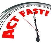 Act Now Clock Time Urgency Action Required Limited Offer — Stock Photo