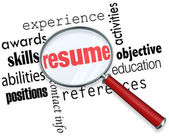 Resume Magnifying Glass Apply Job Experience Document — Stock Photo