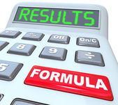 Formula and Results Words on Calculator Budget Math — Stock Photo
