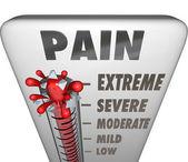 Trattamento di dolore max livello termometro diagnosi dolorosa — Foto Stock