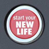 ξεκινήσετε μια νέα ζωή κόκκινο κουμπί τύπου επαναφορά αρχή — Φωτογραφία Αρχείου