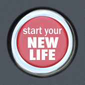 Iniciar una nueva vida rojo botón pulse reset inicio — Foto de Stock