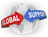 Global Support Arrows Around World International Aid — Stock Photo