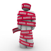 Married Man Wrapped Red Tape Prisoner Trapped Person — Stock Photo