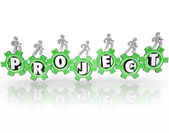 Project Word Gears People Working Together Accomplish Task — Stock Photo