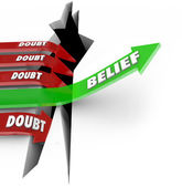 One Arrow of Belief Beats Doubt Confidence Vs Uncertainty — Stock Photo