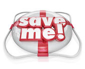 Save Me Life Preserver Words SOS Rescue Help — Stock Photo