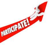 Participate Arrow Person Riding Participation to Success — Stock Photo