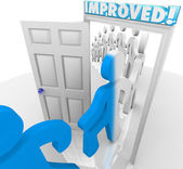 Improved People Walking through Doorway Improvement Change — Stock Photo