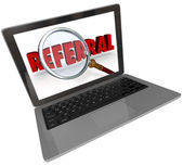 Referral Word Magnifying Glass Laptop Computer Screen — Stock Photo