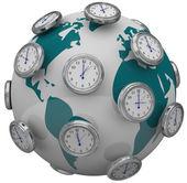 Mezinárodní časová pásma hodiny kolem globální cestování svět — Stock fotografie