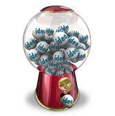 Ideas Gumball Machine Many Thoughts Imagination Creativity — Stock Photo