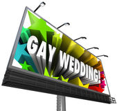 Gay Wedding Billboard Sign Banner Homosexual Marriage — Foto Stock
